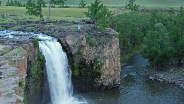 Thumbnail for Aerial View of Orkhon Waterfall in Mongolia
