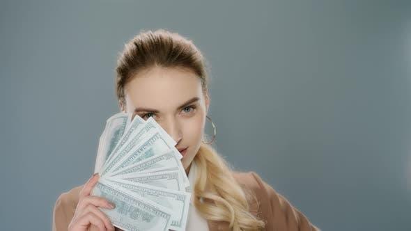 Thumbnail for Sensual Woman Holding Money Fan. Young Business Woman Showing Money Cash Fan