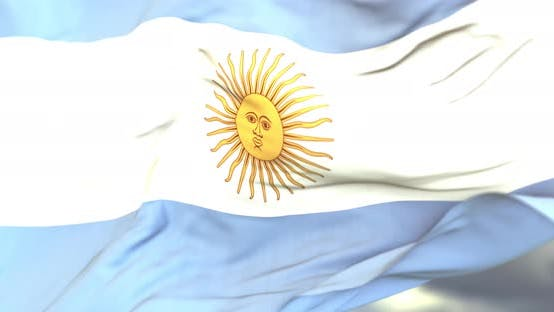 Realistic Argentina Flag Close Up 4K Loop