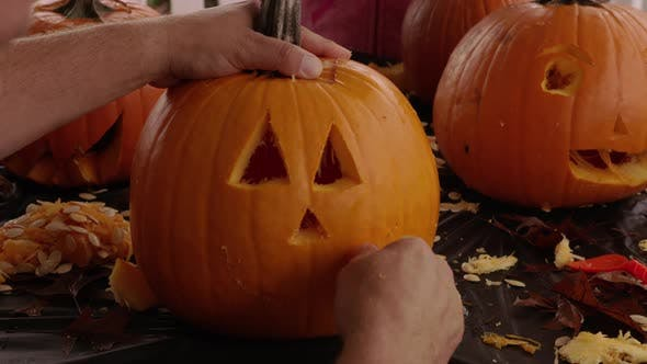 Thumbnail for Carving jack o lantern pumpkin for Halloween
