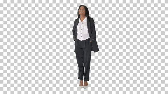 Confident smiling african american businesswoman, Alpha Channel