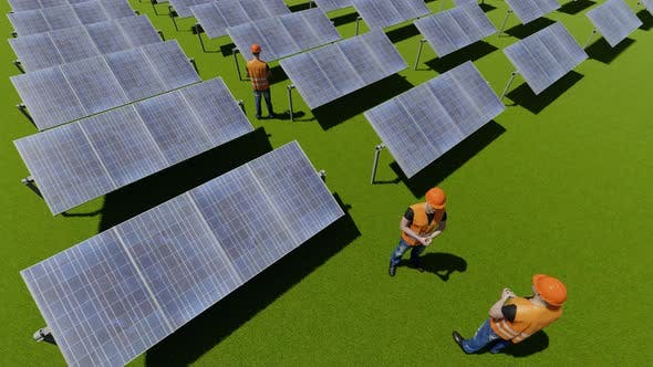 Solar Panel on Grass and Workers