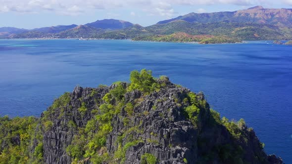 Thumbnail for Limestone Hill on Coron Island, Palawan, Philippines. Aerial View