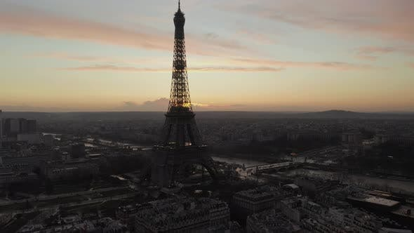 Thumbnail for AERIAL: Over Paris, France Wet, Reflections From Rain with View on Eiffel Tower, Tour Eiffel and