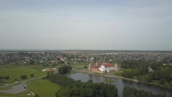 Top View of the Awesome Mir Castle in Belarus. Historic Attraction and Architecture of the City of