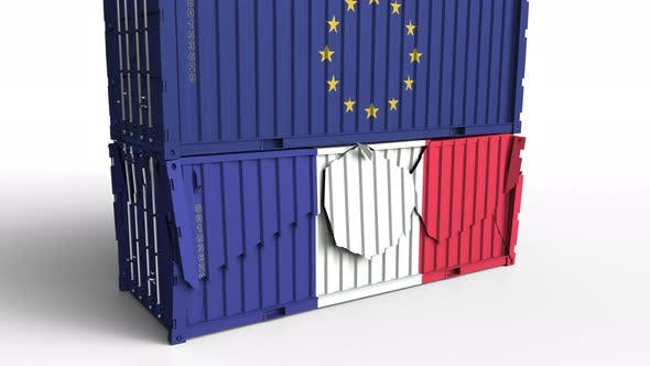 Thumbnail for Container with Flag of the EU Breaks Container with Flag of France