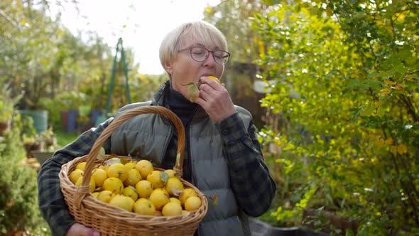 Thumbnail for Happy Caucasian Lady Enjoying Freshly Picked Homegrown Apple