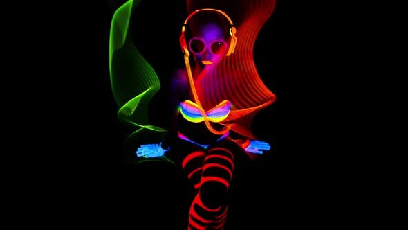 Thumbnail for glow uv neon sexy disco female cyber doll robot electronic toy