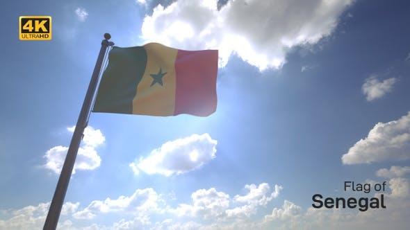 Thumbnail for Senegal Flag on a Flagpole V4