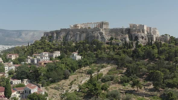 Slow Aerial Dolly Towards Mountain with Acropolis of Athens in Greece at Daylight