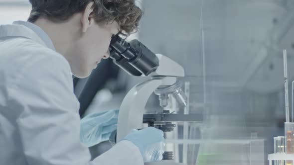 Thumbnail for Biotechnology Scientist Looking into Microscope
