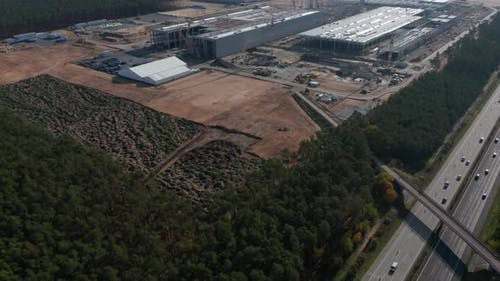 Huge Construction Site Building Site Next To German Highway Autobahn, Tesla Gigafactory Near Berlin