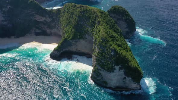 Thumbnail for Kelingking beach, Nusa Penida, Bali, Indonesia. Aerial view at sea and rocks