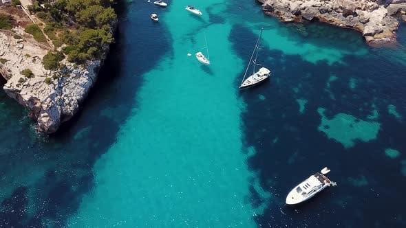 Aerial: Cala Llombards in Mallorca, Spain