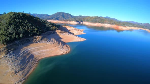 Thumbnail for Shasta Lake Water Reservoir Aerial View Showing Low Water Levels During Drought