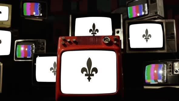 Flag of Aarschot, Belgium, on Retro TVs.