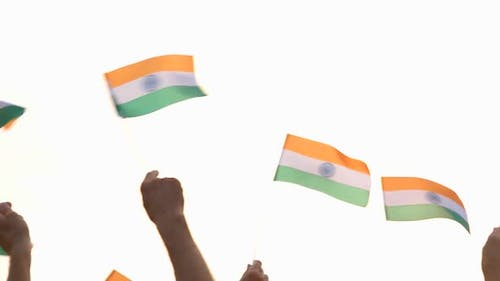 Hands Waving the Flags of India