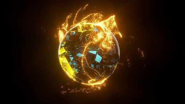 Thumbnail for Glowing golden particles surrounding around the planet.