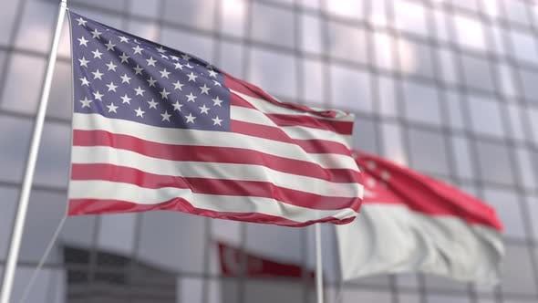 Thumbnail for Waving Flags of the United States and Singapore