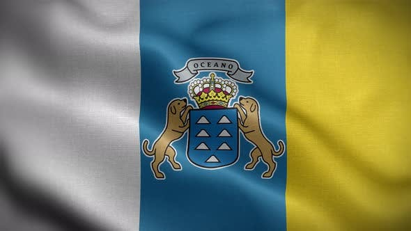 Canary Islands Spain Flag Loop Background 4K
