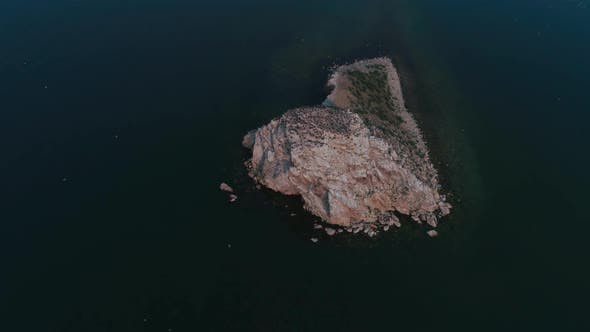 An Island with Cormorants on Lake Baikal