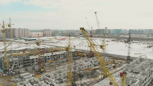 Dwelling Complex Construction Site in Winter Bird Eye View
