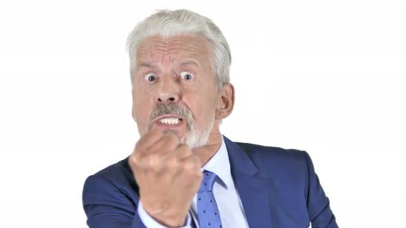 Thumbnail for Yelling Angry Old Businessman White Background