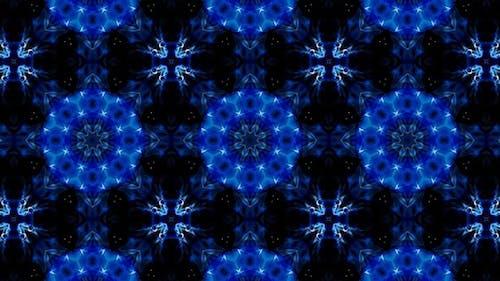 Symmetrical Glittering Blue Kaleidoscope Loop 4K 05