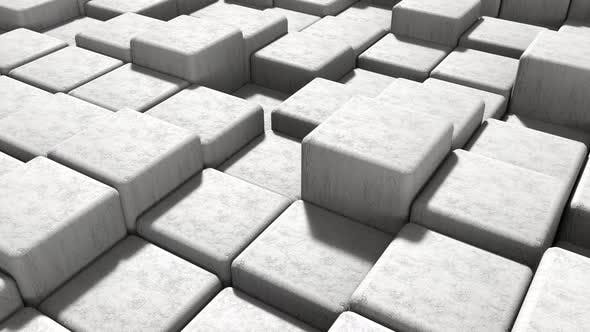Thumbnail for Seamless Loop white masonry cement block and stone background moving up and down in isometric view