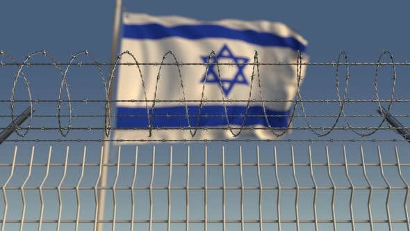 Thumbnail for Defocused Flag of Israel Behind Barbed Wire Fence