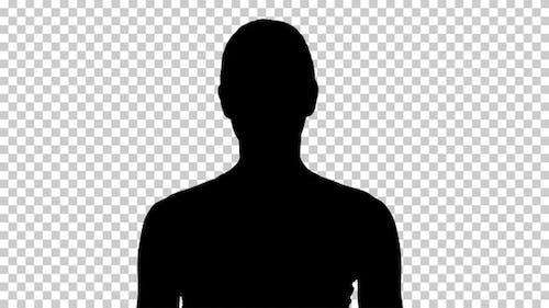 Silhouette  woman breathing , Alpha Channel
