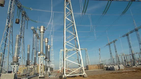 Construction Site of the Wind Power Plant, Structures and Power Lines,