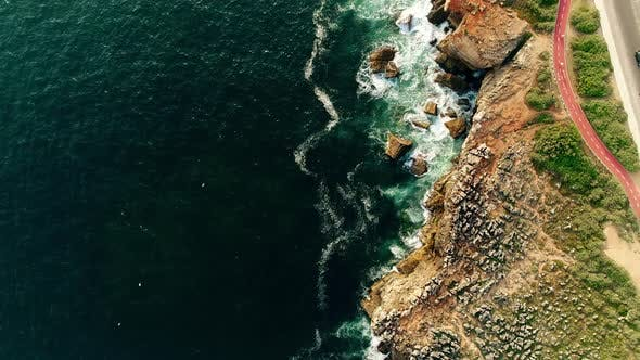 Cover Image for Aerial of Atlantic Coast with Rocks in Portugal