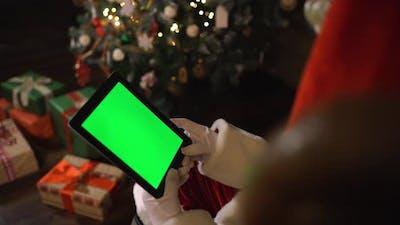 Santa with Ipad Green Screen