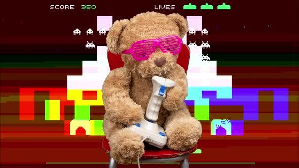 Teddy Bear Playing with Computer Joystick