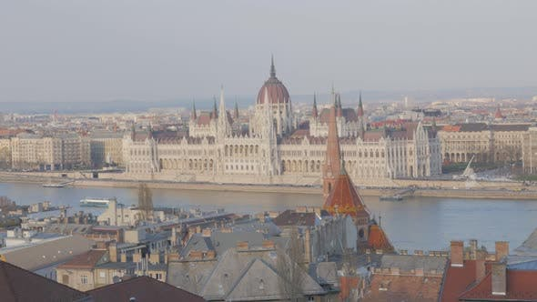 Thumbnail for Famous parliament building in Hungarian capital Budapest and river Danube 4K 2160p UltraHD footage -