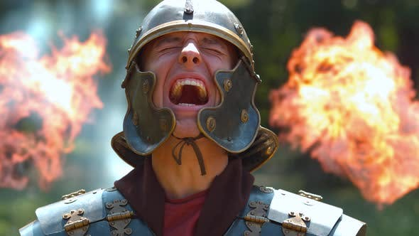 Thumbnail for Desperate Roman soldier, ultra slow motion