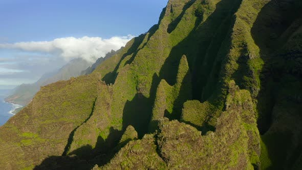 Thumbnail for Fantastic Peaks of Hawaiian Cliffs and Coastline View of the Island at the Background. Aerial