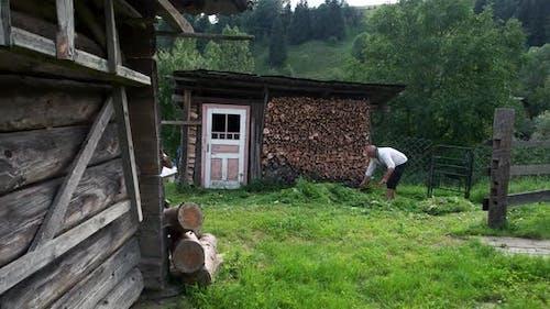 Mature Man Cutting Grass with a Scythe