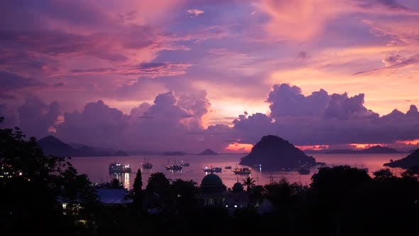 Sunset from Labuan Bajo a fishing town located at the western end of Flores