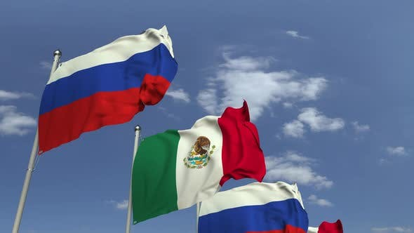 Thumbnail for Waving Flags of Mexico and Russia on Sky Background