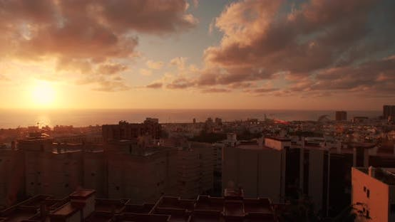 Thumbnail for Timelapse in Tenerife in Spain. View of Santa Cruz De Tenerife. Red, Yellow and Orange Sunrise