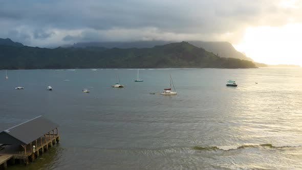 Thumbnail for Hanalei Bay Amazing View Pier To Mountains Glowing Sun Lighting Through Clouds Hawaiian