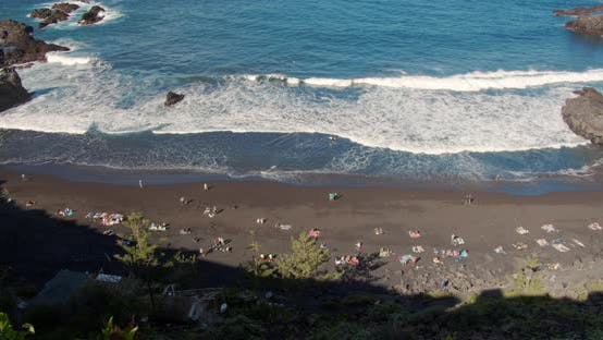 Top View of a Black Volcanic Beach. Coast of the Island of Tenerife.