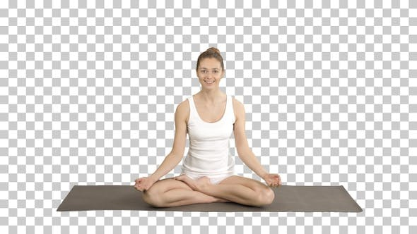 Thumbnail for Girl cannot concentrate on yoga from someones jokes, Alpha Channel