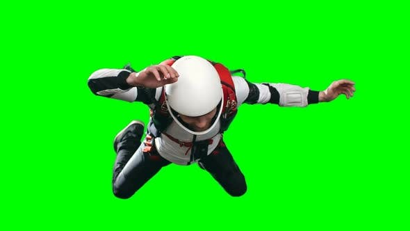 Excited Inexperienced Skydiver Parachuting