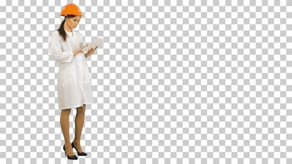 Thumbnail for Female construction specialist in hardhat, Alpha Channel