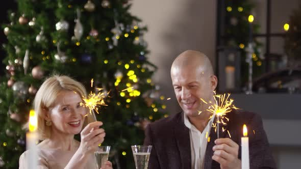 Thumbnail for Caucasian Couple Wishing Happy New Year with Sparklers and Champagne