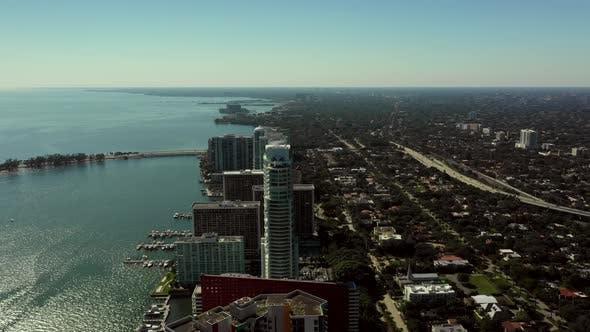 Thumbnail for Aerial coastal video Miami Brickell