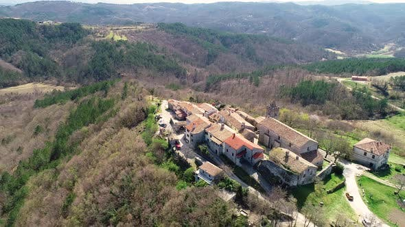 Aerial view above of the medieval city of Hum at Istria region, Croatia.